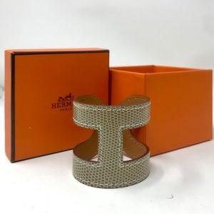 """Hermès Ano H """"Ficelle"""" Lizard Cuff Bracelet"""